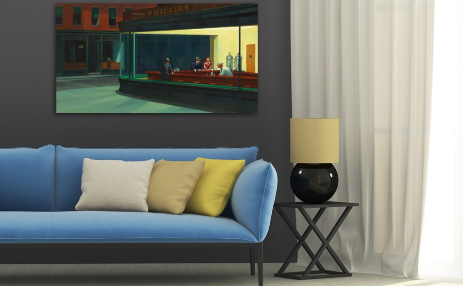 Blue sofa with Edward Hopper's painting
