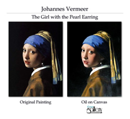 Hand painted replica of a Vermeer painting.
